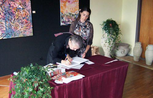 Berceto (PR) Maria Rita Vita con l'On. Irene Pivetti durante la Personale Emozioni sulla Cisa