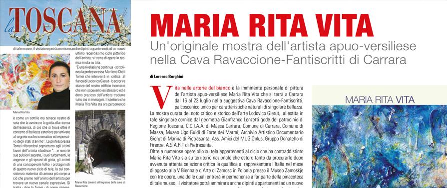 Maria Rita Vita Mostra Cava Ravaccione Fantiscritti Carrara